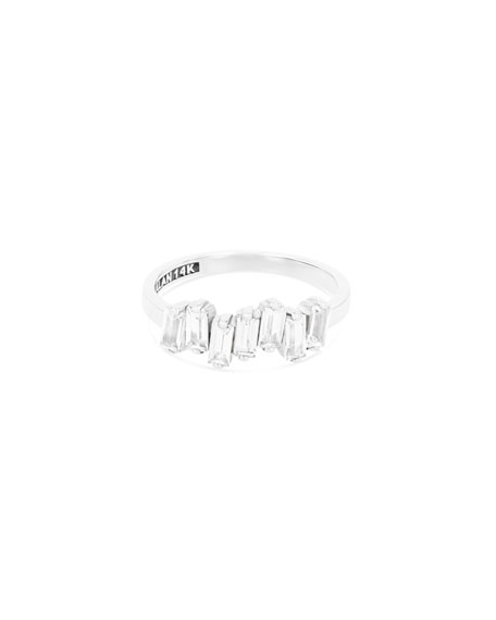 Fireworks Baguette Band Ring with White Topaz, Size 6.5