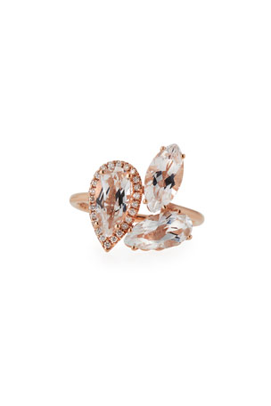KALAN by Suzanne Kalan White Topaz & Diamond Cluster Ring in 14K Rose Gold, Size 6.5