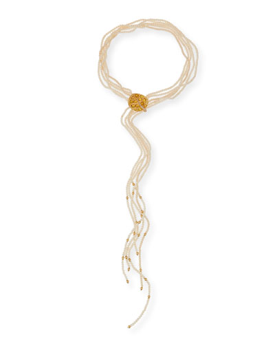 Botanical Leaf Pearl Lariat Necklace with Diamonds & Citrine