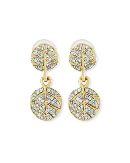 Botanical Double Leaf Drop Earrings with Diamonds