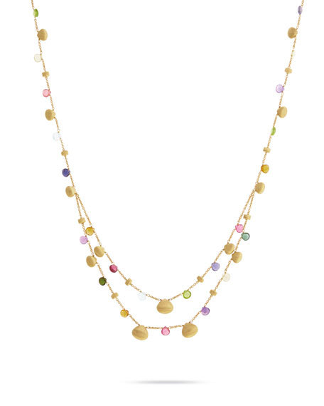 Paradise Short Necklace with Mixed Gemstones in 18K Yellow Gold