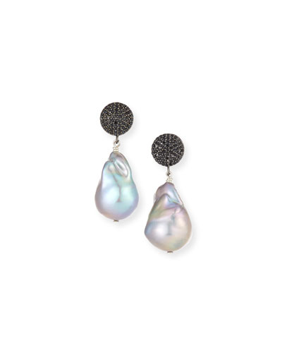 Black Spinel & Baroque Gray Pearl Drop Earrings