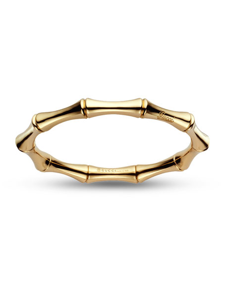 18K Yellow Gold Bamboo Bangle Bracelet