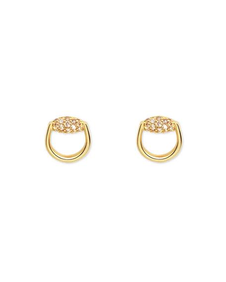 Gucci 18K Gold Horsebit Earrings with Brown Diamonds