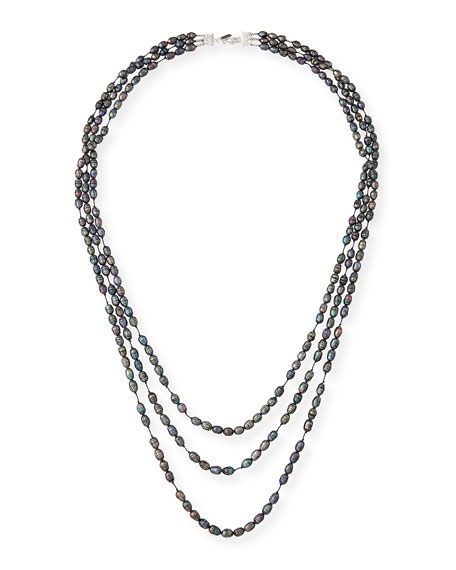 Three-Strand Faceted Gray Pearl Necklace