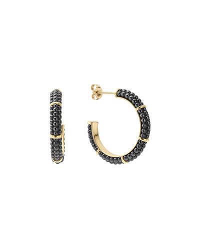 21mm Black Caviar & 18K Gold Hoop Earrings
