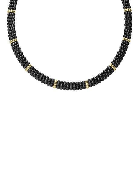 Black Caviar & 18K Gold Necklace