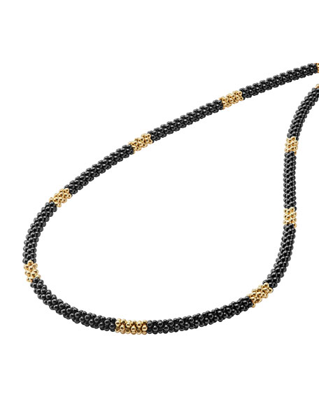 "Medium Black Caviar & 18K Gold Station Necklace, 16""L"
