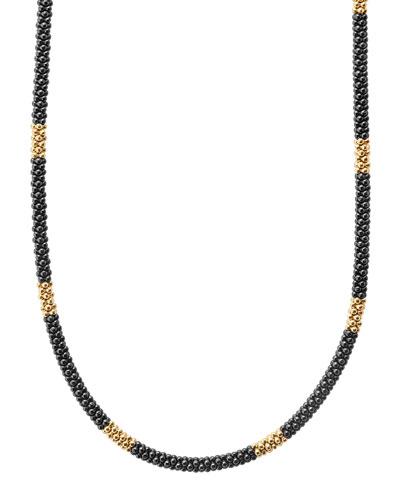 Medium Black Caviar & 18K Gold Station Necklace, 16