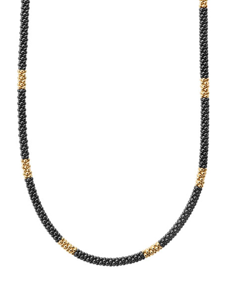 "Medium Black Caviar & 18K Gold Station Necklace, 16""L"