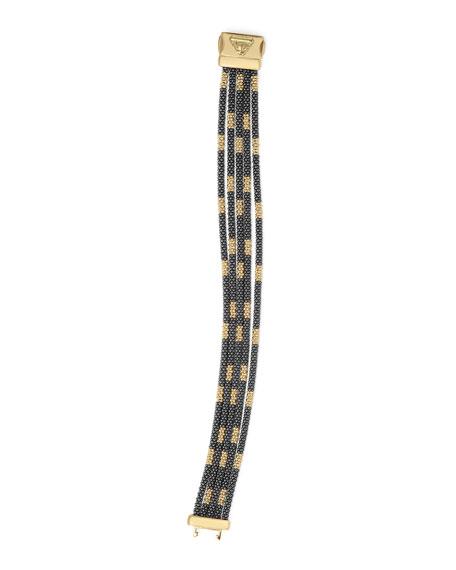 Black Caviar & 18K Gold Five-Strand Bracelet