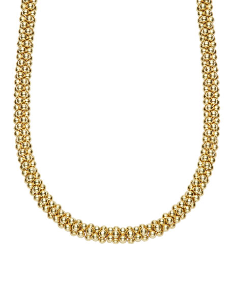 """4mm 18K Caviar Rope Necklace, 18"""""""