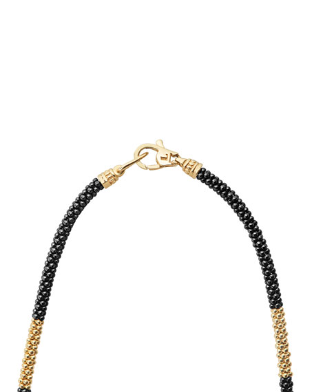 "18K Gold & Black Caviar Necklace, 16""L"