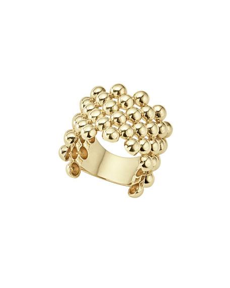 Lagos 18K Gold Bold Caviar Done Ring, Size 7