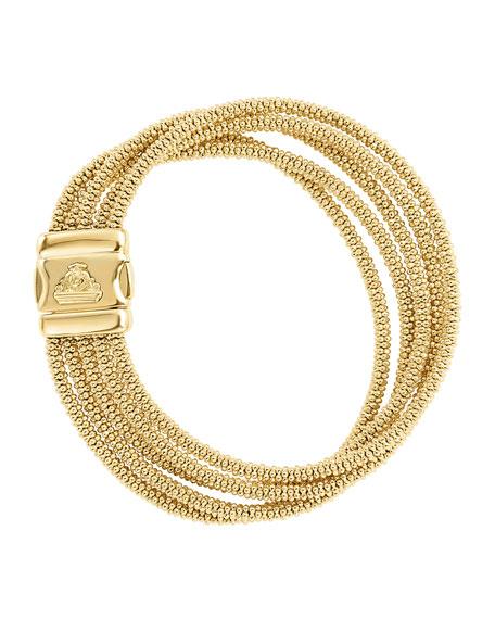Medium Five-Row 18K Gold Caviar Rope Bracelet