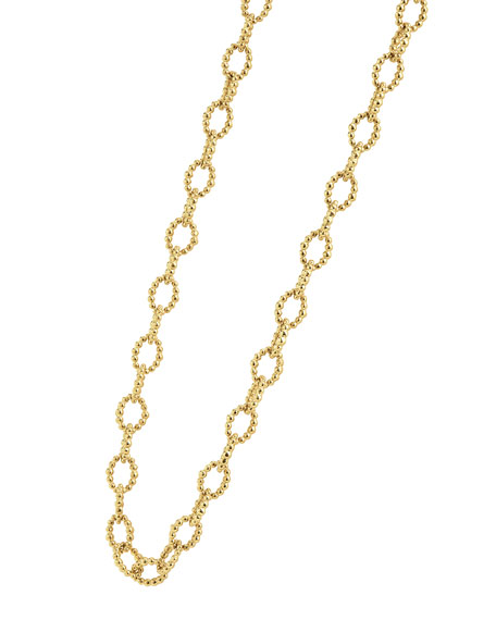 """Caviar Small Fluted Oval Link Necklace, 18"""""""