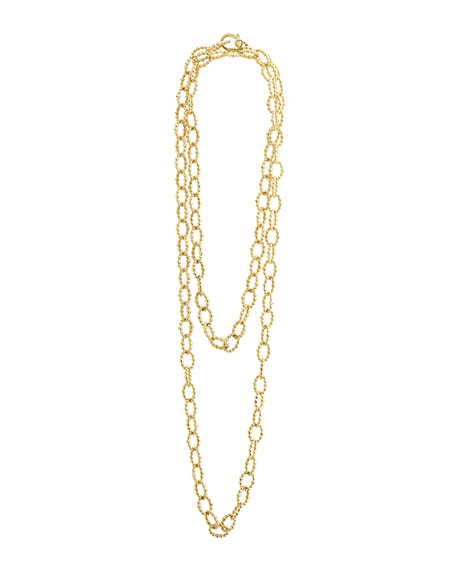 Caviar Large Fluted Oval Link Necklace, 18""