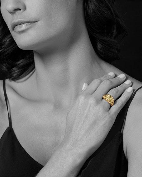 18K Gold Caviar Bold Ring, Size 7