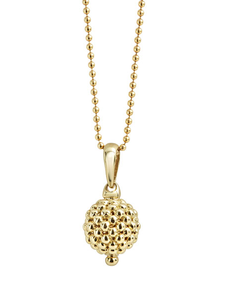 18K Gold Caviar Ball Pendant Necklace