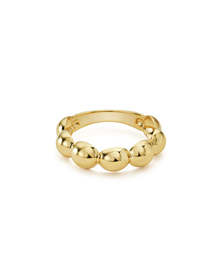 18K Gold Bold Caviar Stacking Ring, Size 7