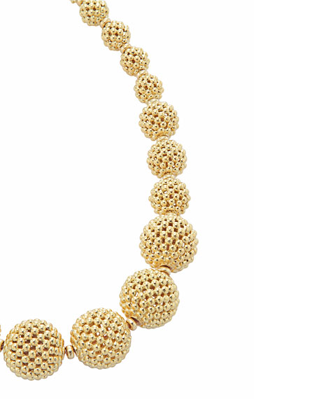 Graduated Caviar Lattice Ball Necklace
