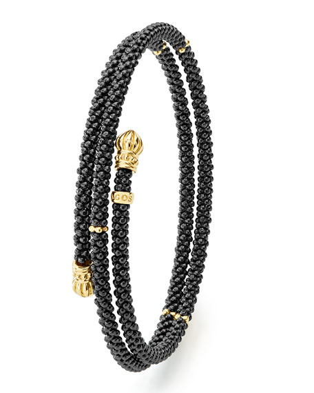 18K Gold & Black Caviar Station Bracelet