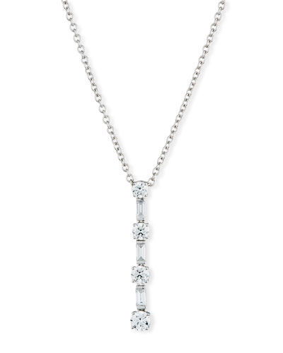 Round & Baguette Diamond Y-Pendant Necklace in 18K White Gold