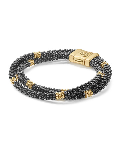 Three-Strand Black Caviar & 18K Gold Bracelet