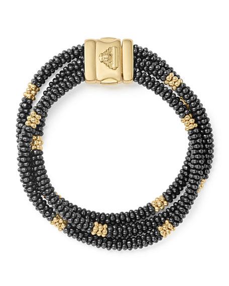 Three-Strand Black Caviar & 18K Gold Bracelet