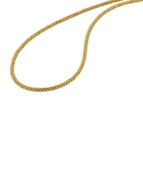 """3mm 18K Gold Caviar Rope Necklace, 16""""L"""