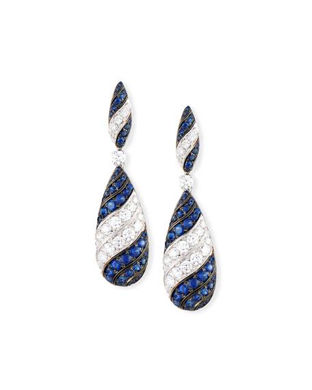Diamond & Sapphire Striped Teardrop Earrings