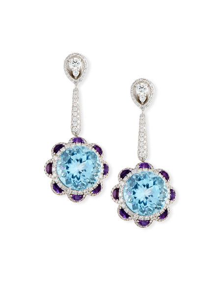 Blue Topaz & Amethyst Drop Earrings with Diamonds