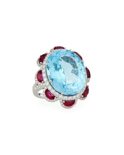 Blue Topaz & Ruby Cocktail Ring with Diamonds