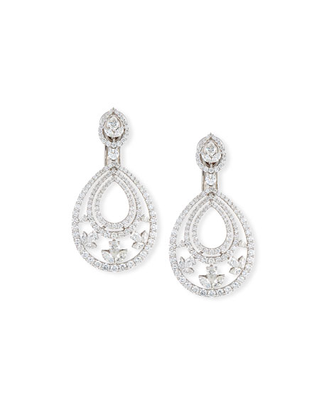 Mixed-Cut Diamond Teardrop Earrings in 18K White Gold