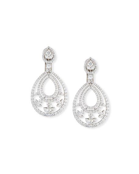 Mixed-Cut Diamond Teardrop Earrings in 18K White Gold