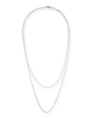 Layered Diamond Briolette Necklace in 18K White Gold, 64