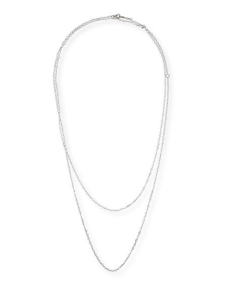 "Layered Diamond Briolette Necklace in 18K White Gold, 64"""