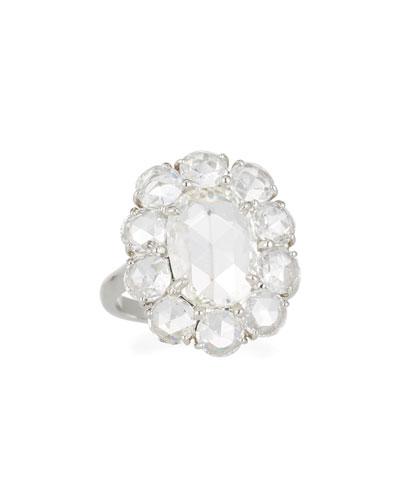 Rose-Cut Diamond Oval Halo Ring in Platinum