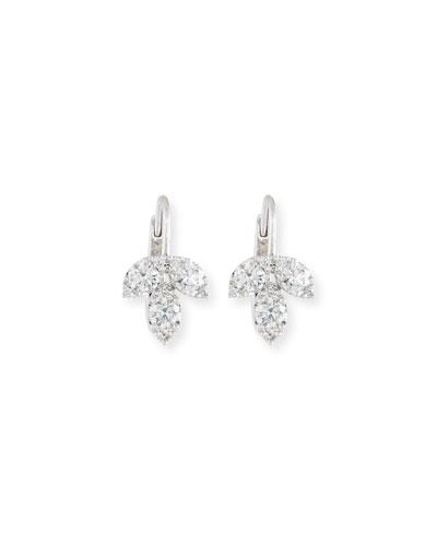 18K White Gold Diamond Petal Earrings