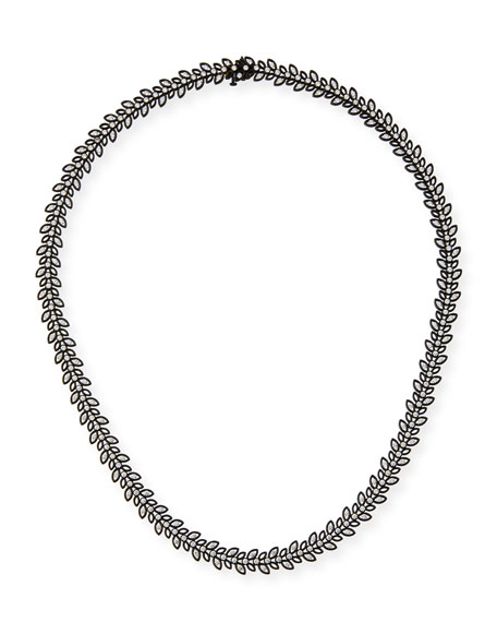 Black Rhodium Vine Necklace with Diamonds