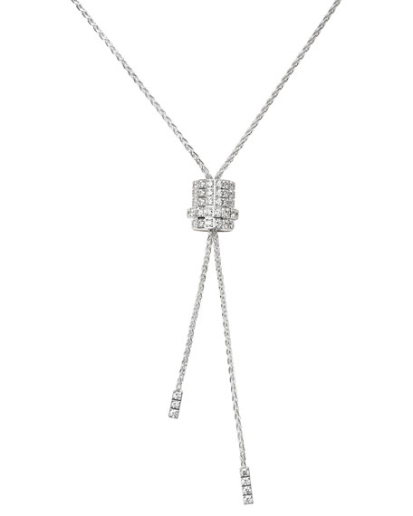 Piaget 18K White Gold & Diamond Rose Lariat Necklace B78OPSjR