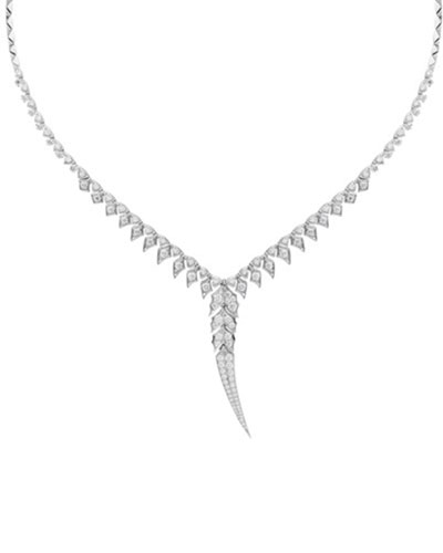 Magnipheasant 18k White Gold Pave Diamond Long-Drop Collar Necklace