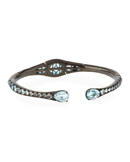 Blue Topaz Bracelet in 18K White Gold