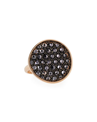 Black Diamond Disc Ring in 18K Rose Gold, 6.5