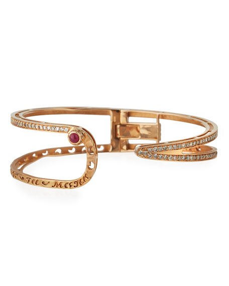Amaia 18K Rose Gold Bangle with Champagne Diamonds