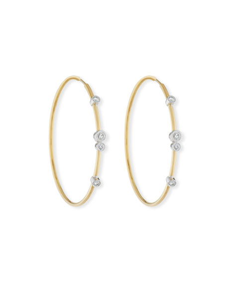 18K Gold Hoop Earrings with Diamond Bezels