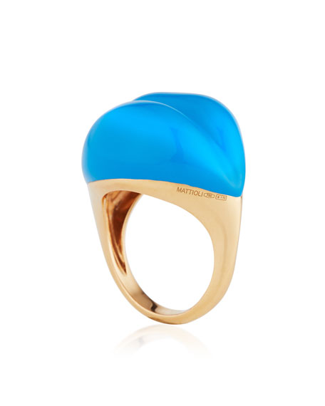 Lips 18K Rose Gold & Blue Enamel Ring