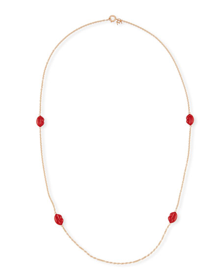 Red Enamel Lips Station Necklace, 35.4""