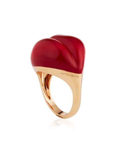 Lips 18K Rose Gold & Red Enamel Ring