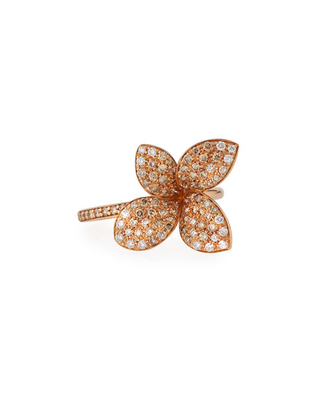 Giardini Segreti Petite Flower Ring with Diamonds in 18K Rose Gold